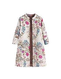Pervobs Womens Warm Outwear Floral Long Sleeve Button Down Long Coat Jacket Overcoat