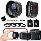 Superb 52/58mm Wide Angle Lens with Macro + 52/58mm 2 x Telephoto Lens Kit (Fits all 52mm NIKON Lenses) for NIKON D7200, D7100, D7000, D750 D5300, D5200, D5100, D810, D800, D610, D600, D3300, D3200, D3100, 1 V1, D4, D4S, D3, D3X, D3S DSLR Cameras + Lens Ring Adapters 46-58mm