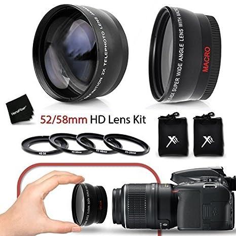 Superb 52 58mm Wide Angle Lens With Macro 2 X Telephoto Kit Fits All 52mm NIKON Lenses For D7200 D7100 D7000 D750 D5300 D5200