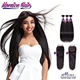 Peruvian Hair Bundles With Closure, Mornice 10A Straight Human Hair Extensions with 4×4 Free Part Lace Frontal Natural Black (12 14 16+10inch) Review