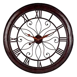 CC Home Furnishings 30 Rustic Classic-Style Round Wall Clock with Roman Numerals