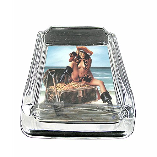 (Sexy Savage Pirate Pin Up Girl S1 Glass Square Ashtray 4