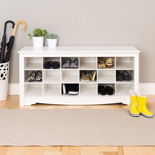 White Oversized Floor Entryway Shoe Storage Organizer Wood Bench Furniture by Winslow