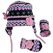 N'Ice Caps Girls Fair Isle Print Micro Fleece Hat And Mitten Set (6-18 Months, Black Fair Isle/Neon Pink Infant)