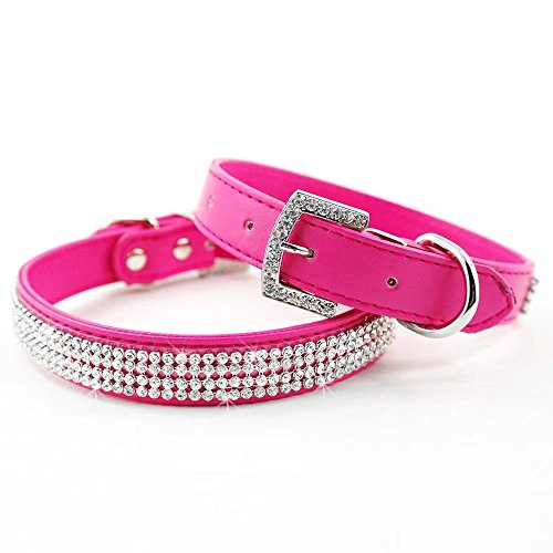 Dog Pet Leather Collar - Didog Full Crystal Rhinestones Shining Diamonds PU Leather Dog Pet Collars with Rhinestones Buckle