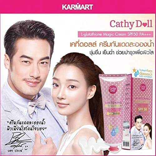 Size 138ml.-Cathy-Doll-Karmart-Whitening Sunscreen L-Glutathione Magic Cream Pore Tightening-SPF-50 PA+++