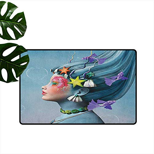 Mermaid Entrance Door mat Woman with Underwater Themed Make Up Hairstyle Starfishes Seashells Fishes Bubbles Hard and wear Resistant W35 x L59 Multicolor
