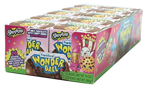 Frankford Candy Company Wonder Ball Shopkins, Milk Chocolate, 1 Ounce, 10 count (Pack of 10)