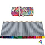 48 Colored Pencils Set - Artist Grade Soft Core Oil based Art Pencils in a Multicolored Canvas Roll Up Case w Sharpener for Art Supplies/Adult Coloring/Urban Sketching FREE Coloring Page eBook