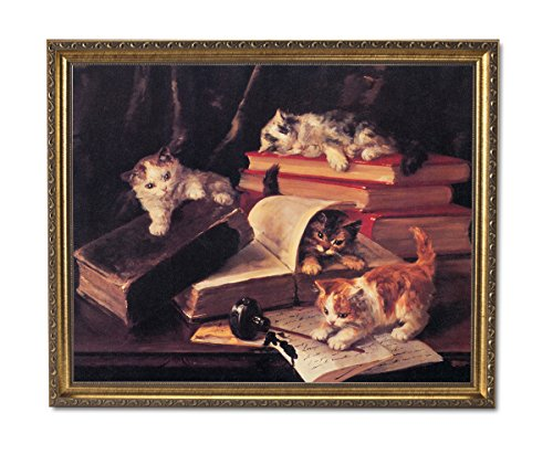 Picture Ink Pot - Kitty Cat Kittens Book Ink Pot Animal Wall Picture Gold Framed Art Print