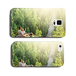 Family of backpackers look at beautiful view cell phone cover case iPhone6 Plus