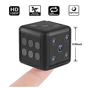 Crazepony Mini Hidden Spy Camera SQ16 1080P HD Nanny Cam Night Vision Portable Motion Detection FOV 90 Degree Sports Camera Mini DV Video Recorder for Indoor or Outdoor Surveillance