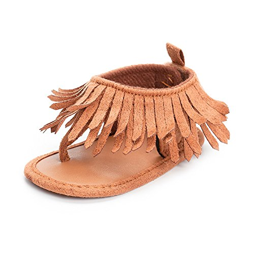 GESELLIE Infant Baby Girls Anti-Slip Moccasins Tassels Summer Prewalker Sandal Camel