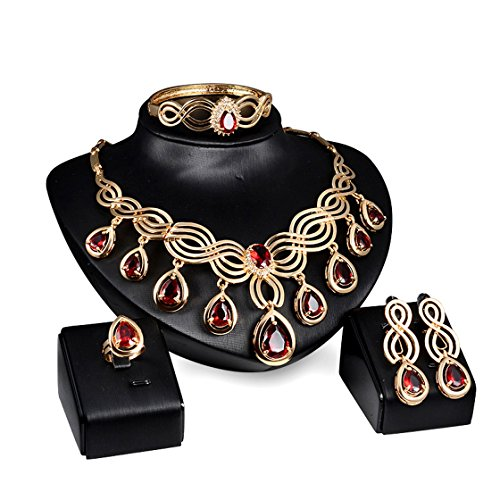 (PSNECK From India gold plate wedding ruby jewelry set african Wedding bridal statement crystal necklaces pendants set)