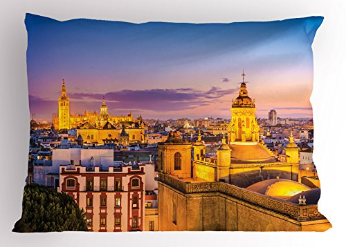 Lunarable European Pillow Sham, City Skyline of Spain Ancient Mediterranean Touristic Historical Nostalgic Print, Decorative Standard Size Printed Pillowcase, 26 X 20 Inches, Multicolor by Lunarable
