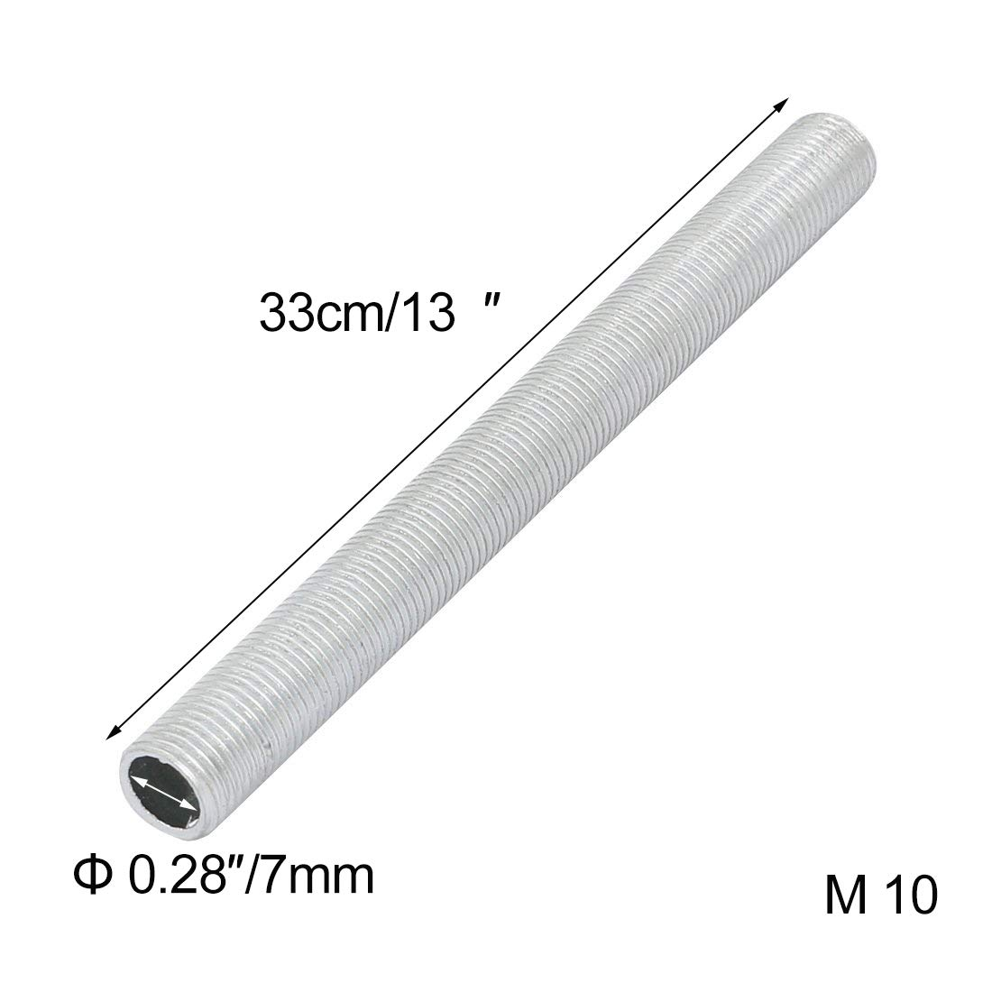 ANYE 5 Pcs M10 Full Threaded Lamp Nipple Straight 13''(L) Pass-Through Pipe Connector DIY PJ0021-33CMx5