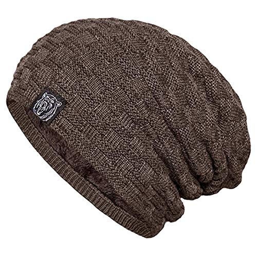 d690982d22f812 Image Unavailable. Image not available for. Color: YSense Mens Winter Warm  Slouchy Long Oversized Beanie Baggy Hat Fleece Lined Knit Skull Cap