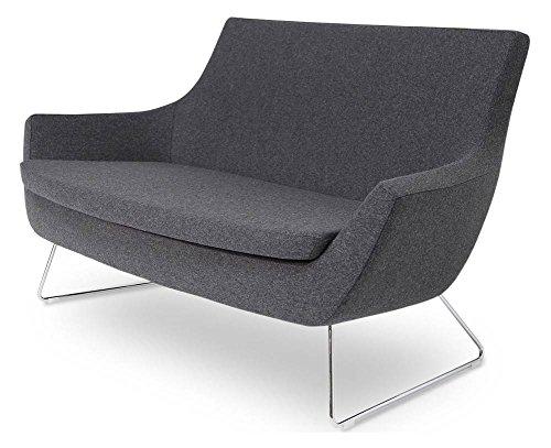 Contemporary Sofa in Chrome Finish (Dark Gray)