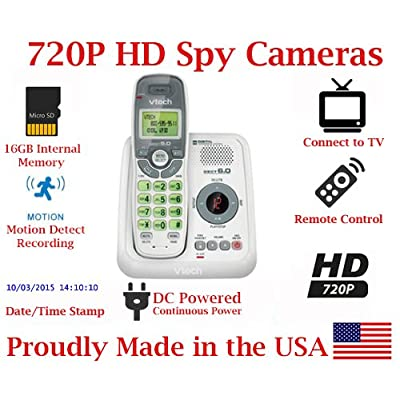 Image of 720p Digital Cordless Home Phone HD Spy Camera Covert Telephone Hidden Nanny Camera Spy Cam Spy Gadget Hidden Cameras
