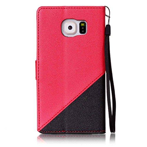 Ultra Slim Case para Galaxy S6 Funda Libro Suave - Sunroyal ® PU Leather Cuero Samsung S6 Bookstyle Cobertura Wallet Case Con Flip Cover Cierre Magnético,Función de Soporte Billetera con Tapa para Tar A-07