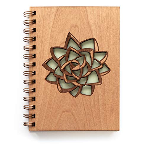 Succulent Laser Cut Wood Journal (Blank Pages Notebook/Christmas/Birthday/Gratitude Journal/Handmade)