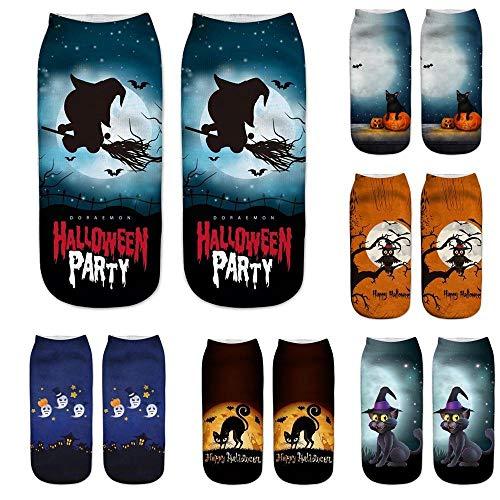 HGWXX7 Funny 3D Cartoon Print Christmas Halloween Festival Gift Crazy Cute Novelty Print Ankle Socks(One Size,Halloween-4) -