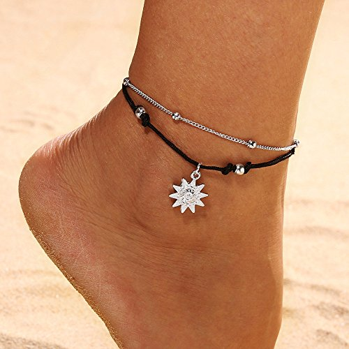 Double Leather Anklet - FIged Double Chain Sun Anklet Jewelry Beach Section Anklets Beads Bohemian Pendant Foot Jewelry for Women and Girls