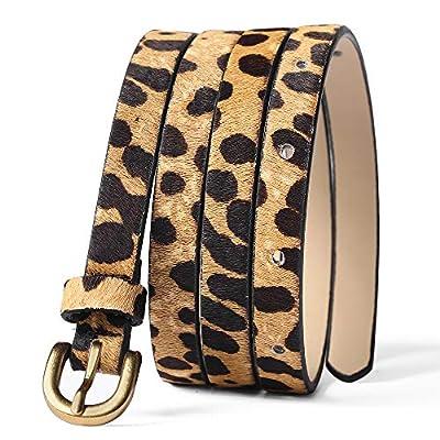 Leopard Print Belt Women's leather Haircalf Waist for pants/dress Ladies Casual Cheetah Waistband-3/6''