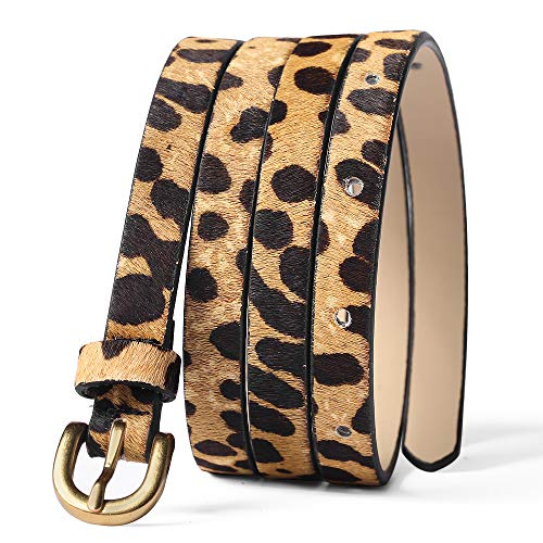 Leopard Print Belt Women's fashion leather Waist Belt Ladies Haircalf Belt Casual Waistband (M-(32.8''-38.9''))