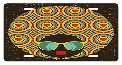 Multicolor lic/_29453 Lunarable Modern License Plate 5.88 L X 11.88 W Inches High Gloss Aluminum Novelty Plate Afro Themed Woman with Glasses and Ear Rings with Black Abstract Backdrop Artwork