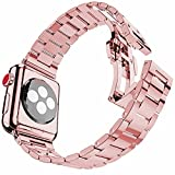 iiteeology Ultra Thin 38mm Stainless Steel Replacement Band Compatible Apple Watch Series 3/2/1 Women Rose Gold