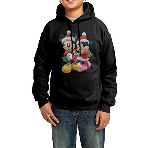 KIHOYG Youth Mickey Mouse With Santa Hat Holiday Hooded Sweatshirt