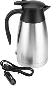 Terisass Electric Car Kettle 1000Ml Stainless Steel Travel Hot Water Bottle with Hot Water Bottle Food Grade Stainless Steel Food Grade PP Silver Black for 12V / 24V power source supply Car