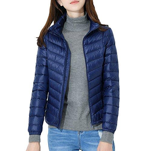 Leggeri Parka Collar Stand Cappotto Outwear Piumino Windproof Bmeigo Donna Giacche Navy Ultra qAvBS