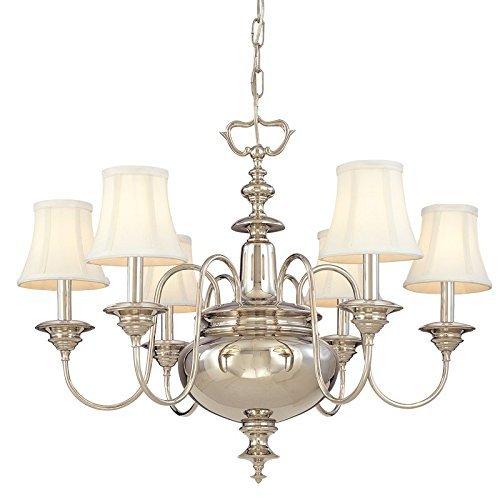 Brass Chandelier Silk (Hudson Valley Lighting Yorktown 6-Light Chandelier - Aged Brass Finish with Off White Faux Silk Shade by Hudson Valley Lighting)