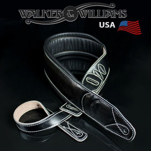 - Walker & Williams C-22 Premium Black Leather Extra Wide Double Padded Guitar Strap