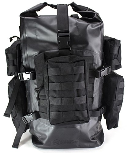Mission Darkness Dry Shield Faraday Backpack 40L. Waterproof Tactical Backpack w/ MOLLE Webbing & Packs / Signal Blocking / Anti-tracking / EMP Shield / Data Privacy for Phones, Tablets, Laptops, etc. by Mission Darkness