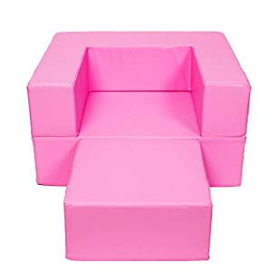 Wood Wood Children's Sofa Chair Multi-Function Pure Sponge Sofa Bed Can Be Washed Footstool (Color : Pink)