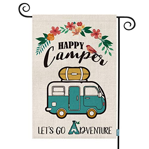AVOIN Happy Camper Garden Flag Vertical Double Sided, Let's Go Adventure Rustic Camping Trailer Flag Yard Outdoor Decoration 12.5 x 18 Inch