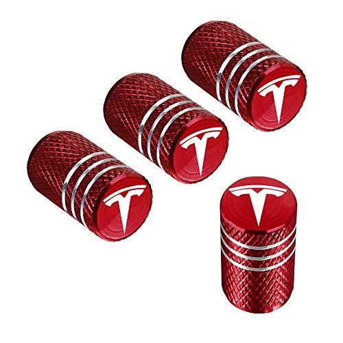 Qingtech dvdd011 Red Tesla Tyre Valve Caps, 4 Pack