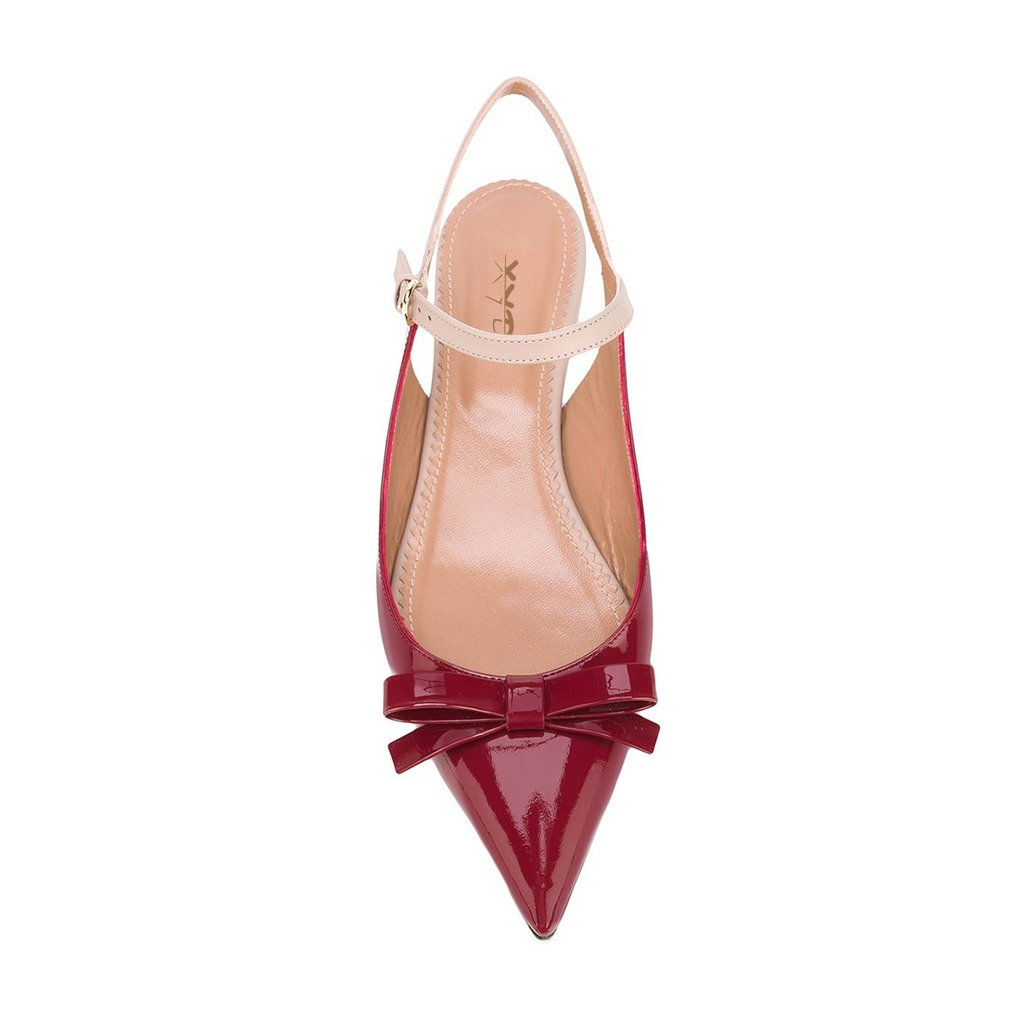 XYD Office Trendy Dress Slingback Flats Pointy Toe Bows Sandals Slip On Pumps Shoes for Women B07254G4B2 5 B(M) US|Scarlet