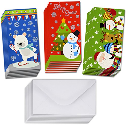 36 Christmas Gift Card Holder - Christmas Money Holder - Christmas Greeting Cards with Envelopes Bulk Assorted in 3 Holiday Cute Festive Designs with Hot Stamped Foil Winter Holiday Cards Box Set (Envelopes Christmas For Cards Gift)