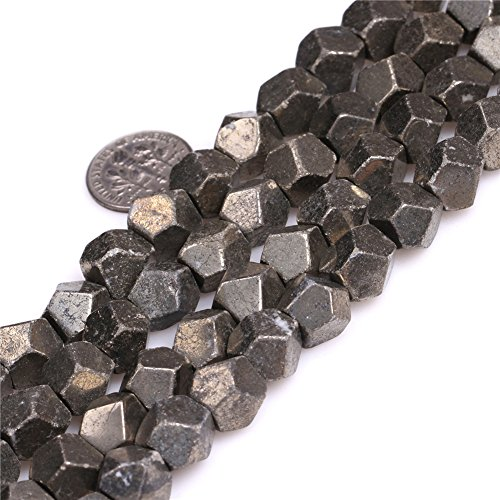 - 10mm Faceted Silver Gray Pyrite Beads Strand 15 Inch Jewelry Making Beads