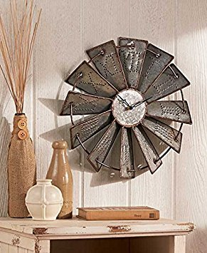 Metal Windmill Rustic Country Primitive Clock Wall Decor by KNL - Decorations Country Primitive