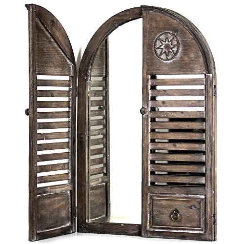 American Art Decor Rustic Cathedral Arch Window Shutter Wall Vanity Accent Farmhouse Mirror (29.75