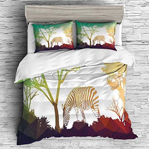 FULL Size Cute 3 Piece Duvet Cover Sets Bedding Set Collection [ Wildlife Decor,Digital Zebra Figure in Fractal Display Vivid Colors A Look at Kenya Illustration,Multi ] Comforter Cover Set for Kids G
