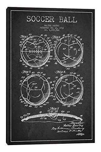 iCanvasART Bartky Soccer Ball Charcoal Patent Blueprint Canvas Print, 40'' x 0.75'' x 26'' by iCanvasART