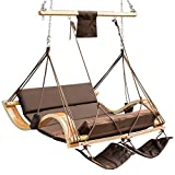 Lazy Daze Hammocks Deluxe Oversized Double Hanging Rope Chair Cotton Padded Swing Chair Wood Arc Hammock Seat with Cup Holder,Footrest&Hardware, Capacity 450 lbs (Coffee)