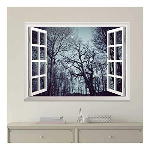Beautiful Forest with Trees Full of Branches View from Inside a Window Removable Wall Sticker Wall Mural