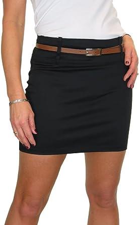 Womens Mini Skirt Stretch Sateen Bodycon Black NEW 8-18